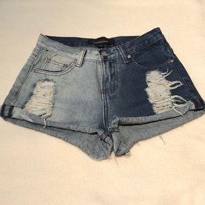 Two Tone Denim High Waist Cut Off Shorts